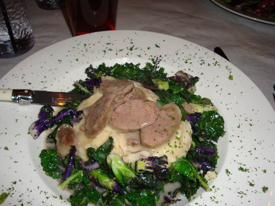 Never Blue: wild sausage with kale