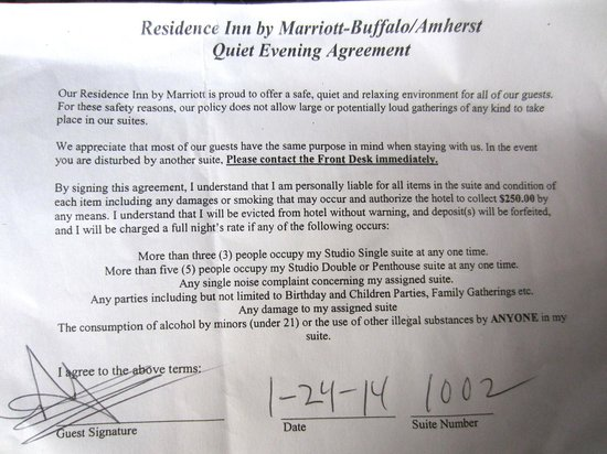 Residence Inn Buffalo Amherst: Quiet Evening Agreement so they can evict you if needed