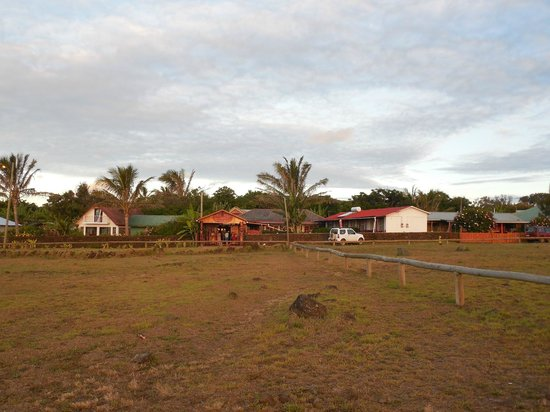 Mataveri Inn: View from the field opposite at sunset
