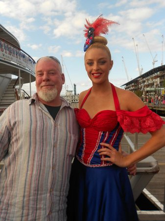 Sydney Showboat Dinner Cruise: boarding, dancer with hubby