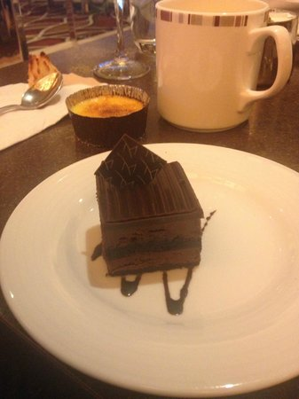 M Resort Spa Casino: One of the desserts, with the logo on that piece of chocolate on top!