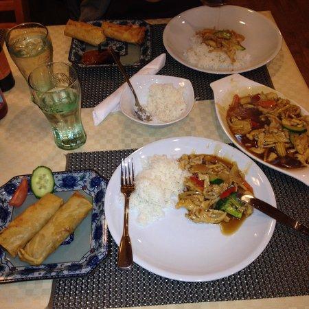 Dag til Natt Kafe og Kinesisk Spiseri : 1 no.25 (125NOK) & 2 no.1 (46NOK) + vatn (0) Total: 217NOK for 2 pers