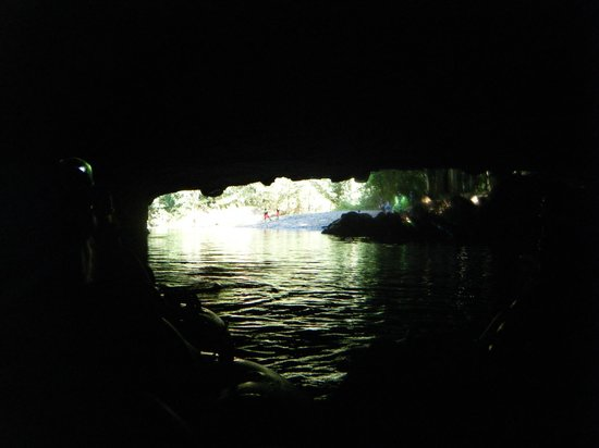 Cave Tubing with Vitalino Reyes: from inside one of the caves into the light....