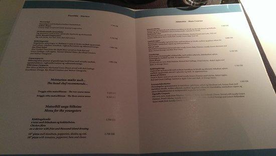 Icelandair Hotel Klaustur : expensive menu