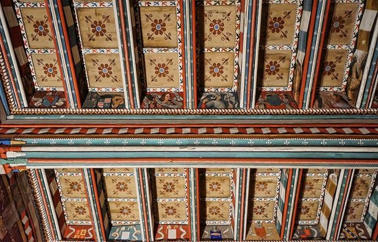 Abbaye de Saint Hilaire: 16th century paintings on the ceiling of the east gallery apartments in the Abbey at Saint Hilai