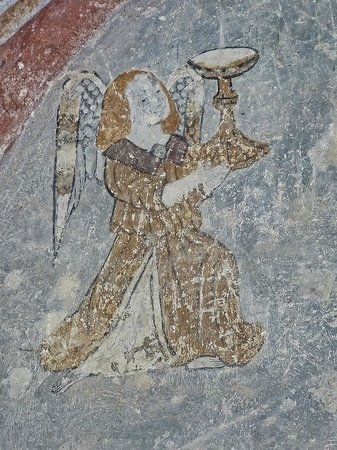 Abbaye de Saint Hilaire: Remains of an early painting of an angel in the Abbey of Saint Hilaire