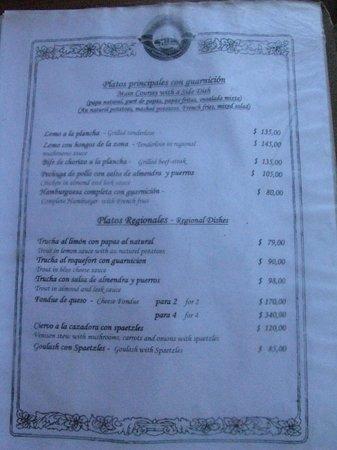 Restaurante Fundo Colonia Suiza: Precios 1