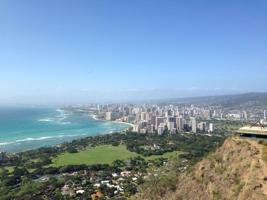 Park Shore Waikiki: From diamond head: the hotel is right past the trees on the outskirts of Waikiki. Best location!