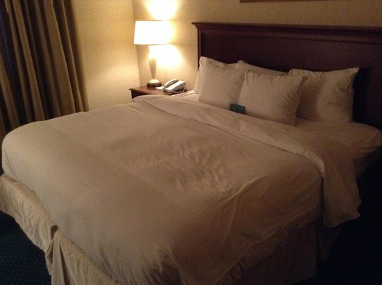 Homewood Suites by Hilton Columbus / Worthington: Bed - lumps look like it was slept in!