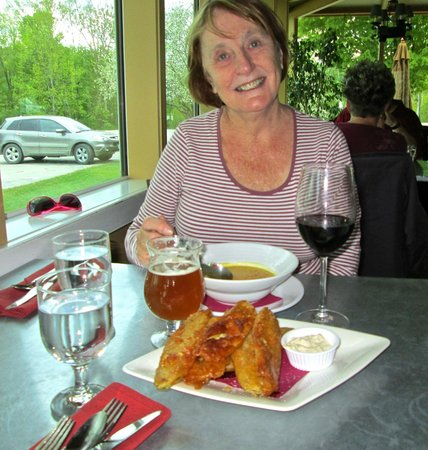 Crop Bistro and Brewery: Margaret enjoying the soup