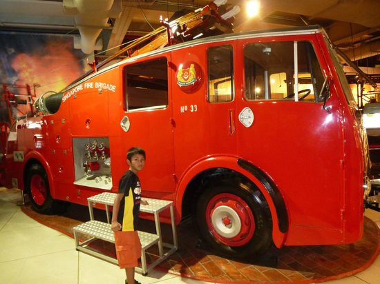 Civil Defence Heritage Gallery: The Dennis Pump Escape was the first vehicle acquired by the Singapore Fire Brigade in 1951.