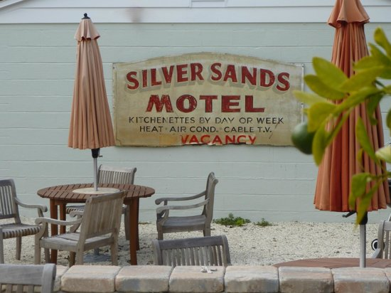 The Silver Sands Saint Augustine : Original sign preserved on outside wall was nostalgic touch