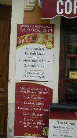 Restaurante Don Nuno: Реклама меню