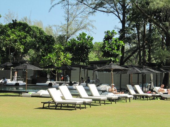 SALA Phuket Resort & Spa: Sun loungers on lawn by one of the pools