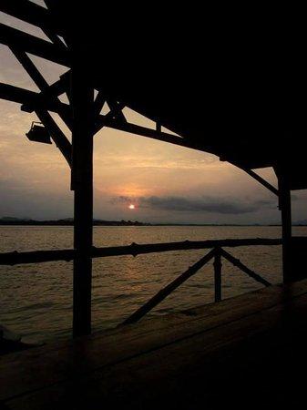 Monkey Dives Lodge, Borneo: sunset illuminating the ocean