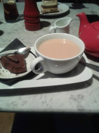 Pizza Express: Double Chocolate Espresso Torta with a Pot of Tea :) yum
