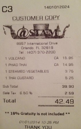 Receipt picture of at siam thai cuisine orlando for At siam thai cuisine orlando
