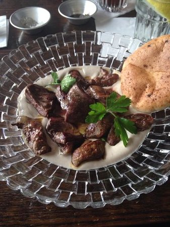 Cafe 48: chicken hearts and livers, so delicious