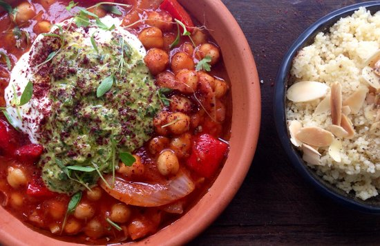 Three Anchors: Meat free Monday special - slow braised chickpeas, green Harissa & almond cous cous