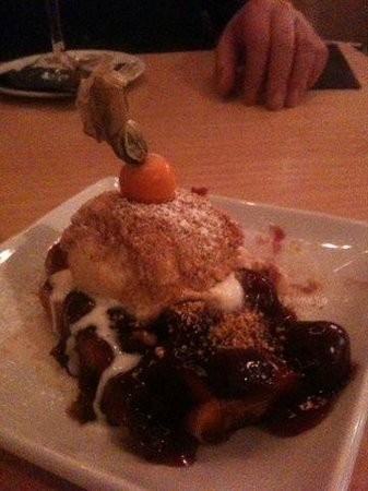 Moules A Go Go - : Belgian Waffle, black cherry & amarreti ice cream dessert - heaven!