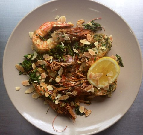 Three Anchors: Exmouth prawns w/ native salsa verde, warrigal spinach, roast almond & lemon