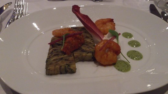 Hotel InterContinental Geneve: Charcoal grilled mediterranean vegetable terrine with prawns - starter - wonderfully tasty