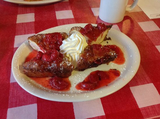 Highland Street Cafe: Strawberry Cream Cheese Stuffed French Toast..YUM!