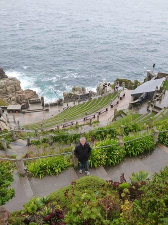 A view of Minack Theatre and the Atlantic Ocean in Cornwall