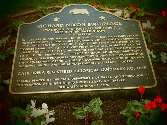 Richard Nixon Presidential Library and Museum: Plaque outside home