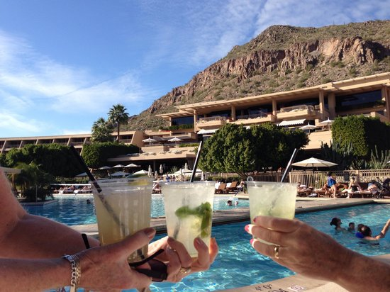 The Phoenician, Scottsdale: Out of the Polar Vortex into the sun at Phoenician pool.