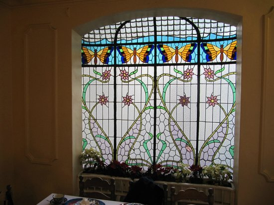 Hotel Casa Gonzalez : stained glass in dining room
