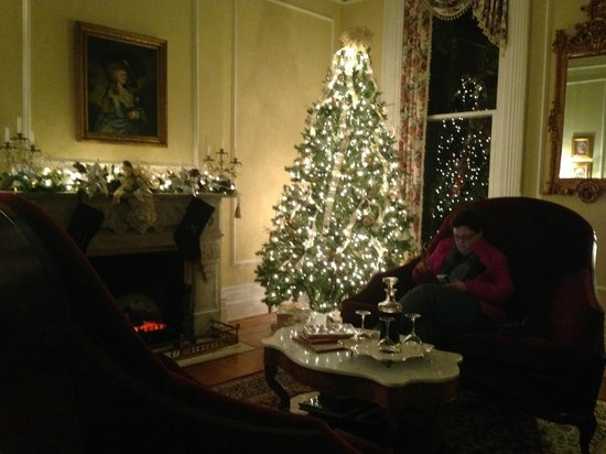 Dupont Mansion B&B : Another pretty shot of the holiday tree in the main parlor.