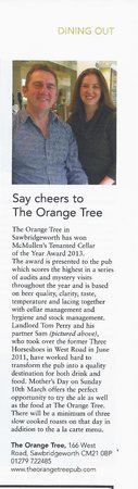 The Orange Tree: Best Kept Cellar Award