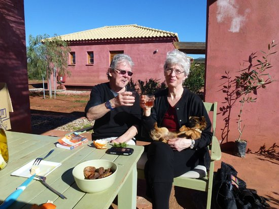 Eumelia Organic Agrotourism Farm & Guesthouse: Our hosts served us figs, clementines, cheese and wine at their cabin in Dec. 2013