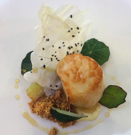 South Lodge Hotel : Scallop with a milk twist - The Pass