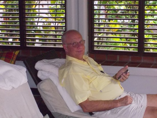 Anse Chastanet : relaxing in our outdoor lviving area
