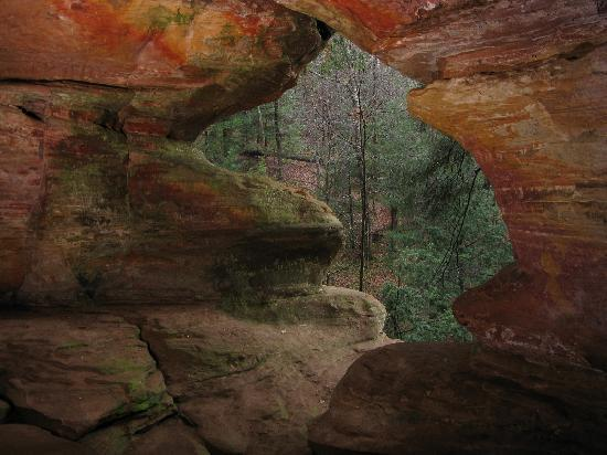 Hocking Hills, OH: Rock House, the hideout choice of bandits and bootleggers back in the day.