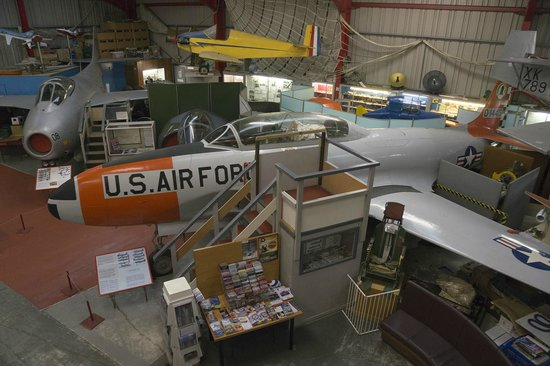 Midland Air Museum : Overview of the main hangar, with the Lockheed T-33 Shooting Star (or T-bird as it was known)