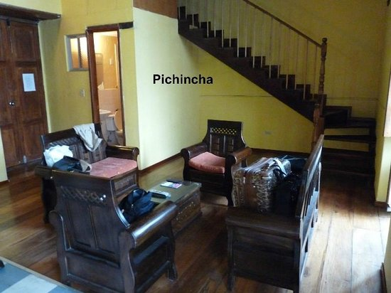 Hostal Ecuador: View of the Pichincha living room and bathroom, bedrooms are on the 2nd floor.