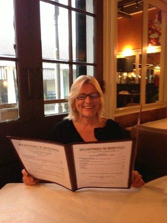 Montrel's Bistro : Gail perusing the menu