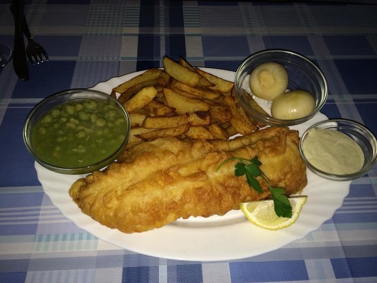 Cod with mushy peas chips pickled onions picture of for Fish chips restaurant