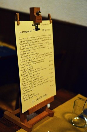Ristorante La Bitta: The hand-written menu at La Bitta