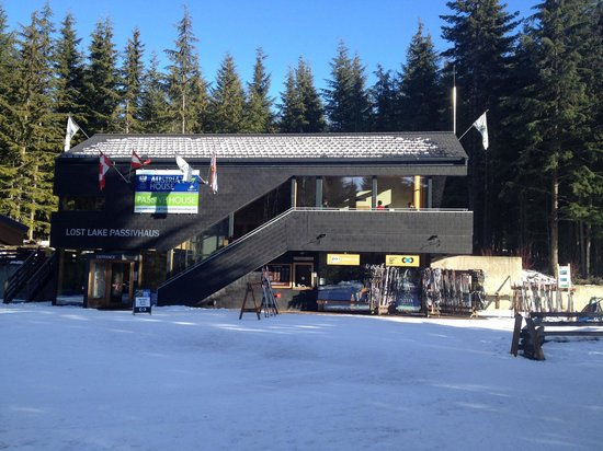 Lost Lake Passivhaus, where you can rent Nordic skis, snowshoes and enjoy the cafe