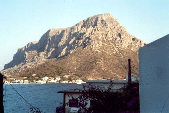 Atlantis Hotel & Studios: early morning view of Telendos from balcony