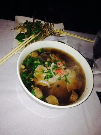 VietRiver: One order of Pho Noodles Soup.  Thin slices of meat, bean sprouts, fresh basil and jalapeno and
