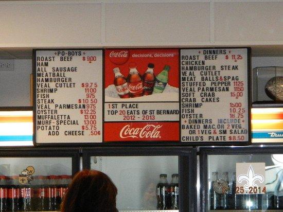 Rocky & Carlo's Restaurant : menu board