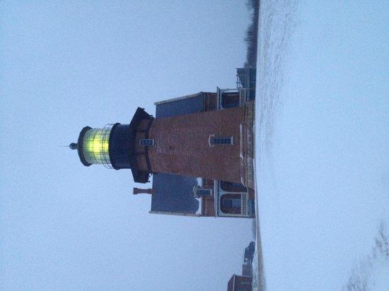 Southeast Lighthouse: January snowstorm, Southeast Light, Block Island