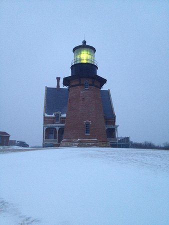 Southeast Lighthouse: January snowstorm, Southeast Light, Block Island