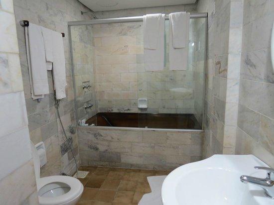 A banheira que falei fica em baixo do chuveiro  Foto de Hotel Dan Inn, Po -> Banheiro Pequeno Com Banheira E Chuveiro Juntos