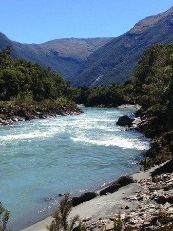 Waiatoto River Safari: Waitoto River upper rapids downstream